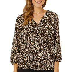 AGB Womens Leopard Print V-Neck Surplice Long Sleeve Top