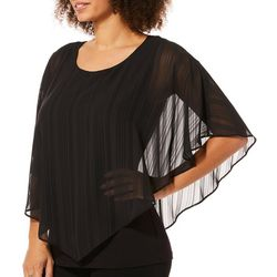 AGB Womens Sheer Striped Poncho Top