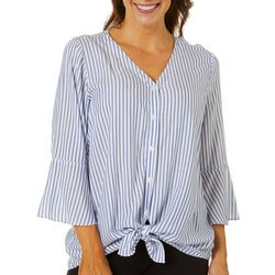 AGB Womens Striped Button Down Tie Front Top