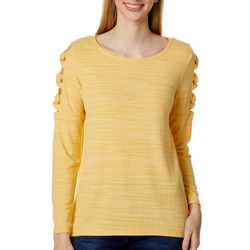 AGB Womens Solid Ribbed Knit Lattice Long Sleeve Top
