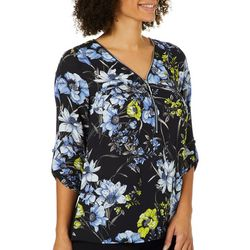 AGB Womens floral Print Zip Placket Roll Sleeve Top