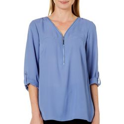 AGB Womens Solid Zip Placket Roll Sleeve Top