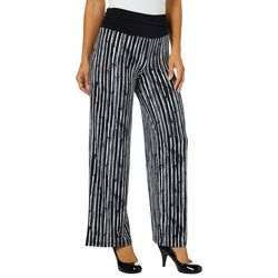 AGB Womens Striped Wide Leg Pull On Pants