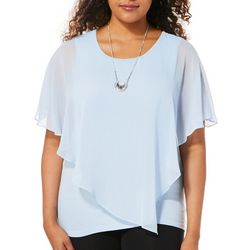 AGB Womens Necklace & Ruffled Popover Top