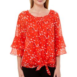 AGB Womens Floral Tie Front Ruffle Sleeve Top