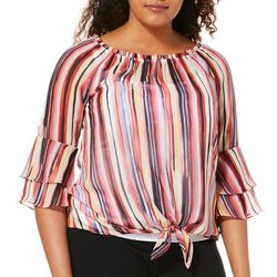 AGB Womens Striped Tie Front Ruffle Sleeve Top