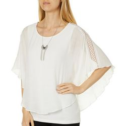 AGB Womens Necklace & Solid Crochet Sleeve Gauze Top