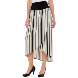 AGB Womens Striped High-Low Pull On Skirt