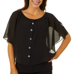 AGB Womens Solid Faux Button Down Gauze Pop Over Top