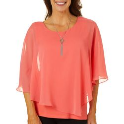 AGB Womens Solid Pop Over Top