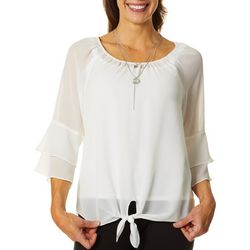 AGB Womens Solid Bell Sleeve Tie Front Top