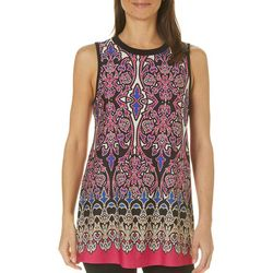AGB Womens Damask Print Sleeveless Top