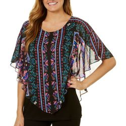 AGB Womens Vertical Floral Print Popover Top