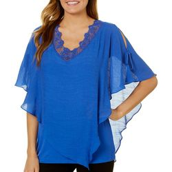 AGB Womens Crochet Slit Sleeve Poncho Top