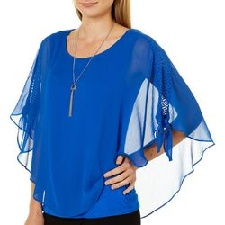 AGB Womens Necklace & Crochet Tie Sleeve Poncho Top