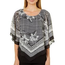 AGB Womens Houndstooth Floral Print Popover Top