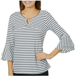 AGB Womens Striped Bell Sleeve Keyhole Top