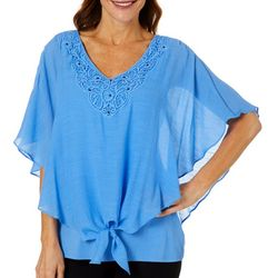 AGB Womens Solid Tie Front Poncho Top