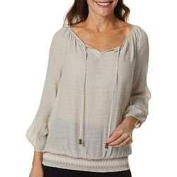 AGB Womens Solid Tassel Detail Top