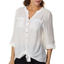 AGB Womens Solid Button Down Tie Front Top