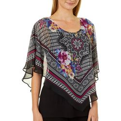 AGB Womens Boho Houndstooth Popover Top