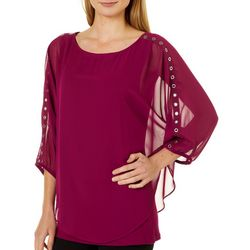 AGB Womens Grommet Sleeve Poncho Top