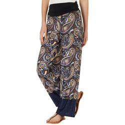 AGB Womens Border Print Wide Leg Pull On Pants