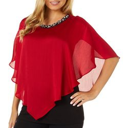 AGB Womens Solid Embellished Short Sleeve Poncho Top