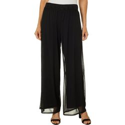 AGB Womens Solid Sheer Overlay Pull On Pants