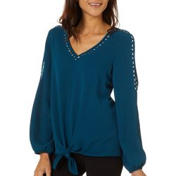AGB Womens Solid Tie Front Stud Embellished Top
