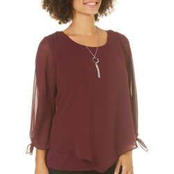 AGB Womens Necklace & Asymmetrical Tie Sleeve Top
