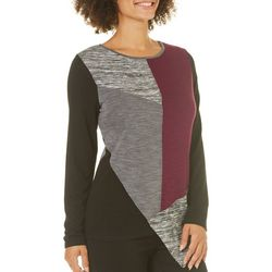 AGB Womens Colorblock Asymmetrical Hem Sweater