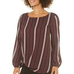 AGB Womens Striped Front Knot Crepe Top