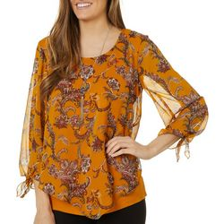 AGB Womens Mixed Paisley Print Round Neck Top