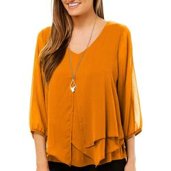 AGB Womens Solid Long Sleeve V-Neck Top