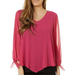 AGB Womens Solid Tie Sleeve V-Neck Top