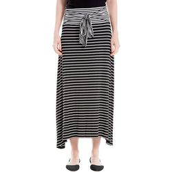 Max Studio Womens Striped Tie Waist Asymmetrical Hem Skirt