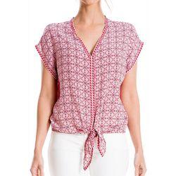 Max Studio Womens Print Tie Front Top