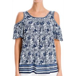 Max Studio Womens Floral Print Cold Shoulder Top