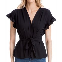 Max Studio Womens Solid Tie Front Ruffle Sleeve Top
