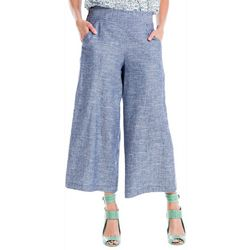 Max Studio Womens Solid Wide Leg Cropped Linen Pants