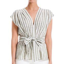 Max Studio Womens Striped Tie Front Cap Sleeve Top