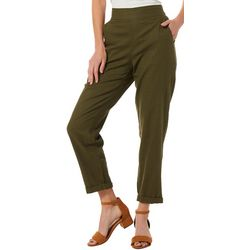 Max Studio Womens Solid Linen Pants