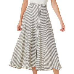 Max Studio Womens Button Front Chevron Linen Skirt