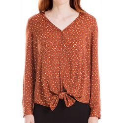 Max Studio Womens Print Button Down Tie Front Top