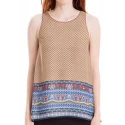 Max Studio Womens Mixed Geometric Print Sleeveless Top