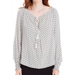 Max Studio Womens Geometric Print Long Sleeve Peasant Top