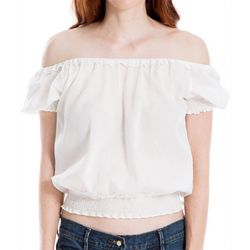 Max Studio Womens Solid Smocked Off The Shoulder Top