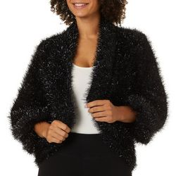 Max Studio Metallic Knit Faux Fur Jacket