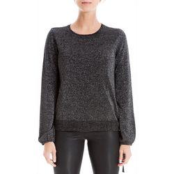 Max Studio Womens Metallic Side Tie Sweater